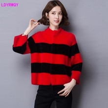 2019 autumn and winter clothing Korean version of the new womens fresh sweet wild striped knit cashmere short sweater