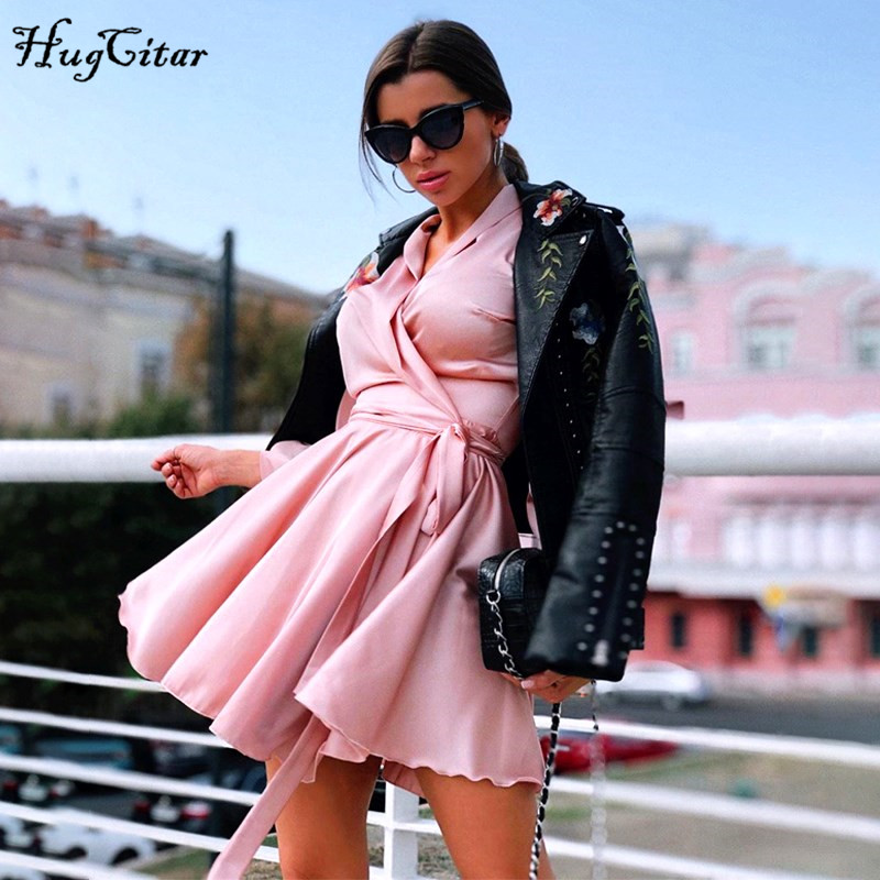 Hugcitar 2019 satin long lantern sleeve V neck wrapped bandage sexy mini dress autumn winter women streetwear party outfitsDresses   -