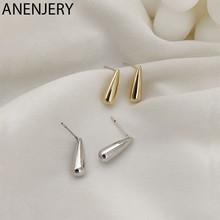 Pendientes que previenen la alergia de Plata de Ley 925 anenjary, pendientes ovalados geométricos pequeños para mujer S-E1082