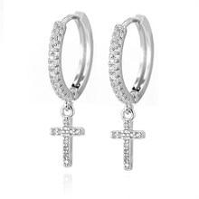 Moda małe słodkie kolczyki krzyże kryształ wysokiej jakości złoty krzyż Hoop kolczyki dla kobiet dziewczyn prezent biżuteria серьги кресты 2020