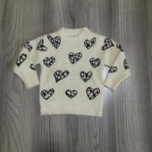 Image 1 - fall/winter valentines day  baby girls clothes infant top t shirt love heart shape Sweater Beige cotton long sleeve ruffles