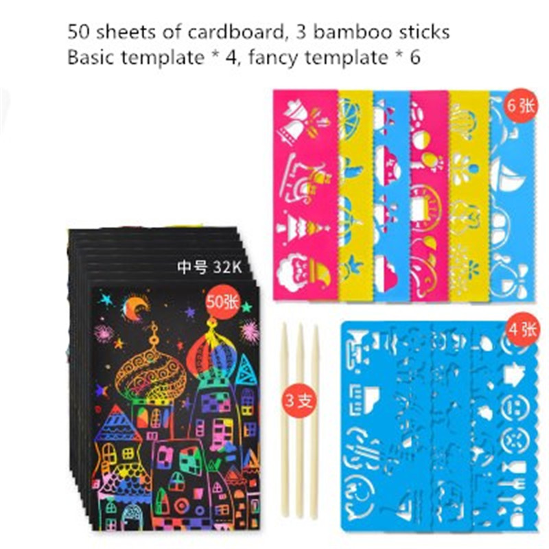 50 Sheets Scratch Art Paper Magic Painting Toy Draw Paper Magic Color Rainbow Scratch Art Paper Card Set DIY Painting Kids Toys
