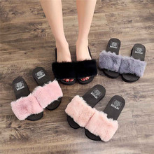 Winter Home Plush Slippers Women Shoes Indoor Floor Wedges Shoe zapatos de mujer House Sliders Soft Bottom slippers pantuflas A4(China)