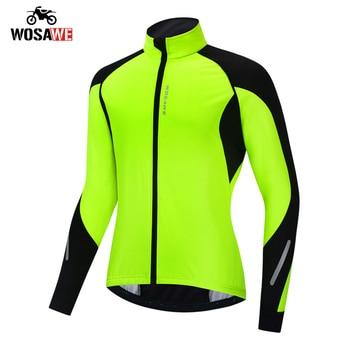 WOSAWE Winter Mens Motorcycle Jacket Warm Up Thermal Fleece Bicycle MTB Road Windproof Bike Clothing Waterproof Long Jersey