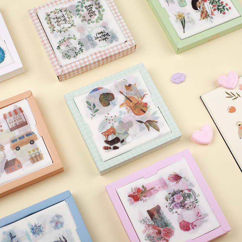 50pcs/lot Kawaii Sticker Translucent sticker Collage Element Series Paper Map Set Hand Book Decoration Material DIY Scrapbooking image