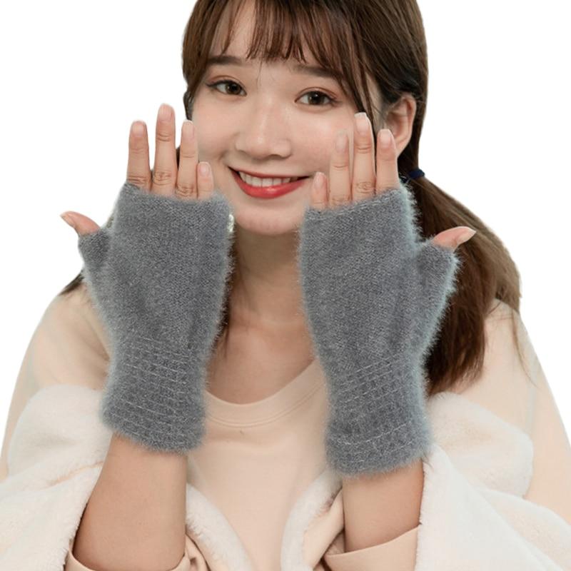 Sparsil Women Faux Mink Cashmere  Half Finger Glove Thick Warm Touch Screen Fingerless Mittens Female