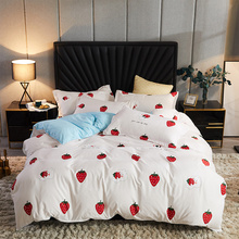 Nordic Duvet Cover Set 220x240 Strawberry Striped Couple Bed Quilt Bed Sheet and Pillowcase Bedding Set King Size Single Double özdilek unicorn single duvet cover set luxury bed sheet cotton bedding set sheet quilt bed cover set free shipping