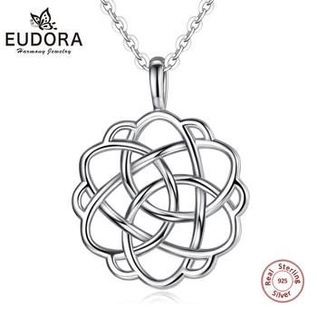 Eudora Celtics Knot Necklace Solid 925 Sterling Silver Rose Flower Pendant Women Fine Jewelry For Girlfriend Birhday Gift CYD98