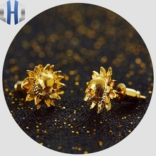 24K Pure Gold Skull Earrings Personality Sun Flower Creative