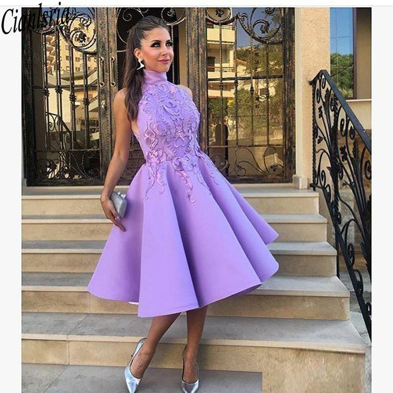 Purple High Neck Knee Length Short Prom Dresses 2020 Appliques Pleats A-Line Satin Bridesmaid Party Dress For Cocktail