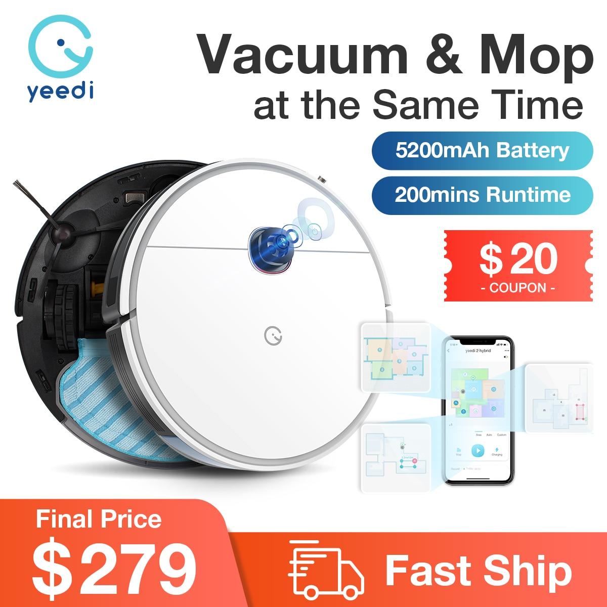 Yeedi 2 robô híbrido aspirador de pó de navegação visual, varredura mop 3in1, bundary virtual, 2500pa 200 minutos de tempo de execução, personalizar a limpeza