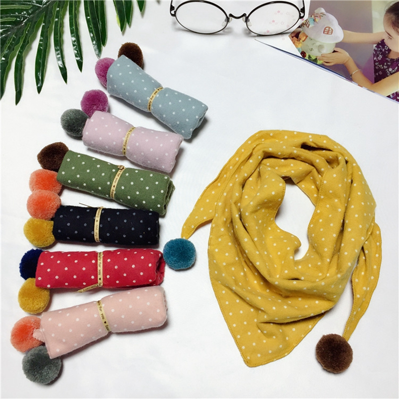 New Baby Dot Triangle Scarf Candy Color Autumn Winter Warm Cotton Scarf Infant Girls Neck Collar Scarves For Baby Winter Gifts