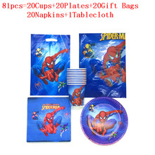 51/81pcs Spiderman Theme Birthday Party Decor Paper Plate Cup Napkin Giftbag Tablecloth Tableware Set Baby Shower Party Supplies