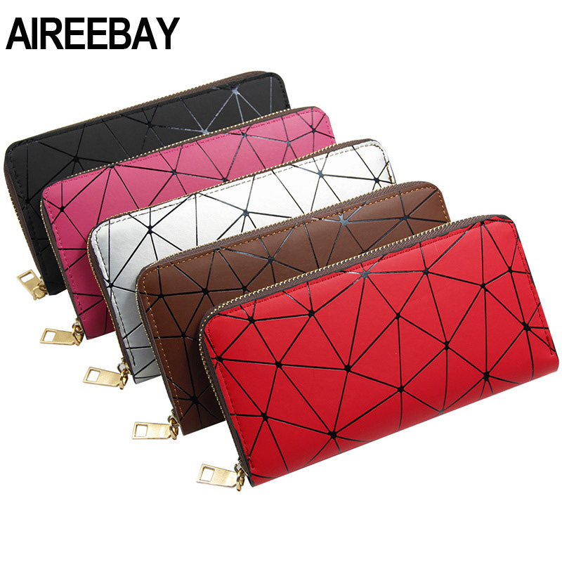 AIREEBAY Holographic Female Wallet Zipper Slim Thin Laser Women Purses Silver Long Clutch Wallets Geometric Hologram Money Bag