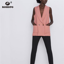 ROHOPO Notched Collar Solid Sleeveless Pink Slim Straight Jacket Side Pockets Double Buttons Ladies Autumn Sleeve Outwear #2236