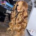 Перуанские парики Lucky Queen с волнистыми волосами, фронтальные натуральные волосы, медовая блондинка, с крупными волнистыми краями, предварит...