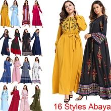 Muzułmanki turcja otwarta sukienka abaya Islam Arabian dubaj damskie z długim rękawem Maxi Kaftan Ramadan skromna arabska islamska odzież 2019