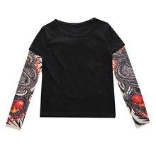 Одежда для маленьких мальчиков с сеточкой, футболки с длинными рукавами и принтом тату, одежда для маленьких мальчиков Новые Осенние Топы с длинными рукавами для маленьких мальчиков