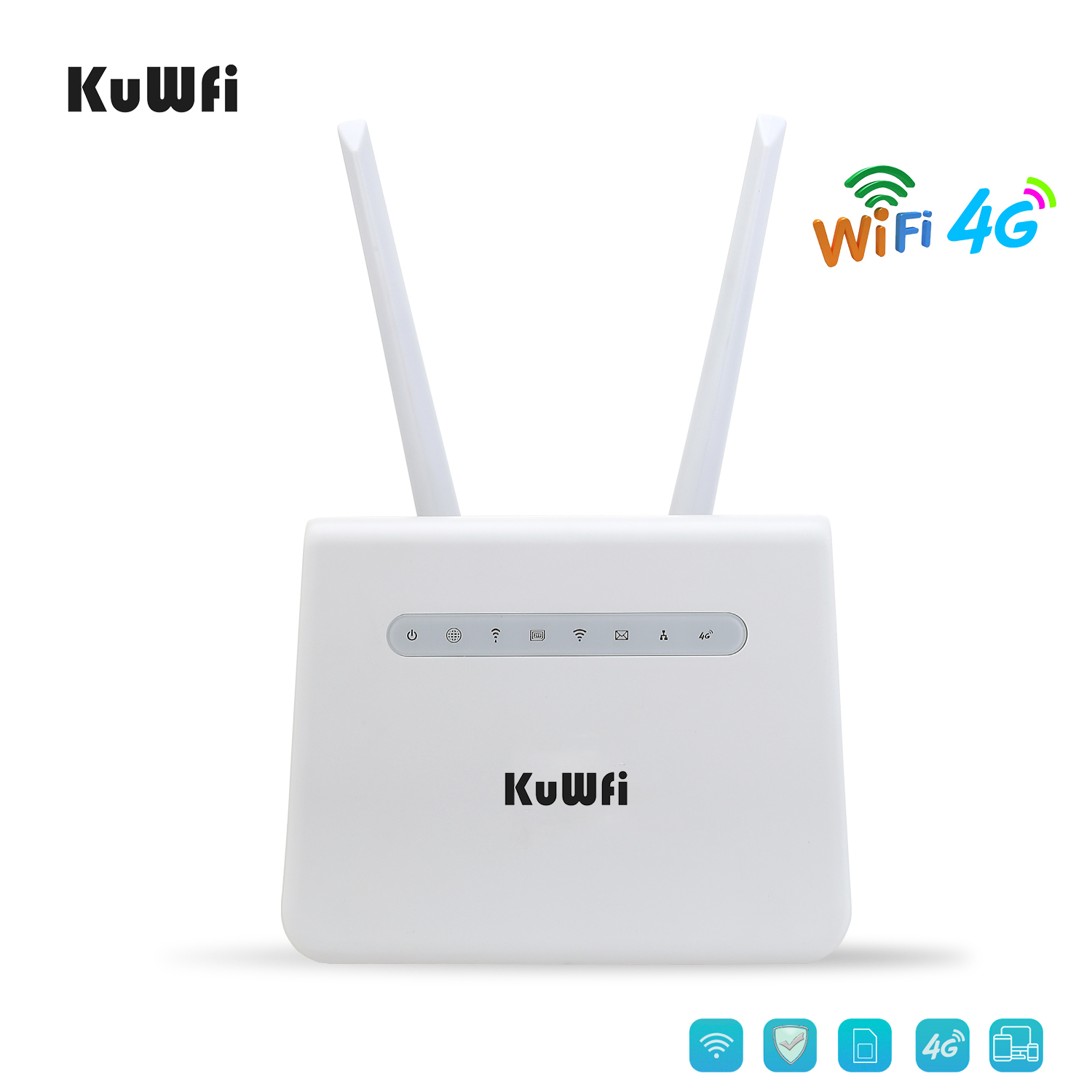 KuWFi 4G Wifi Router 300Mbps LTE CPE  CAT4 4G SIM Card Router Mobile Wifi Hotspot Support 4G To LAN Port 32 WiFi Users