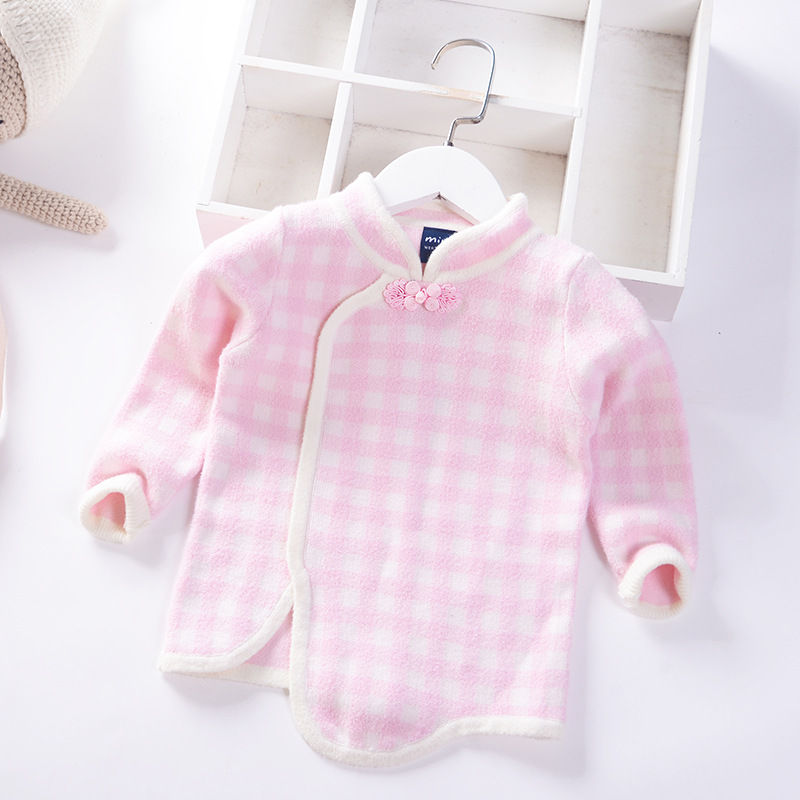 Girls Plaid Sweater 2019 Autumn And Winter New Style Children Pullover Knitted Sweater Single Layer 1 Years Old Baby Sweater Ski