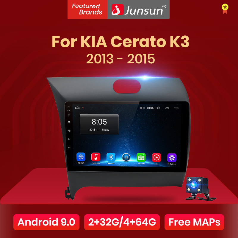 Junsun v1 android 9.0 2 din carro dvd player de rádio vídeo gps para kia cerato k3 forte 2013 2014 2015 estéreo unidade cabeça multimídia