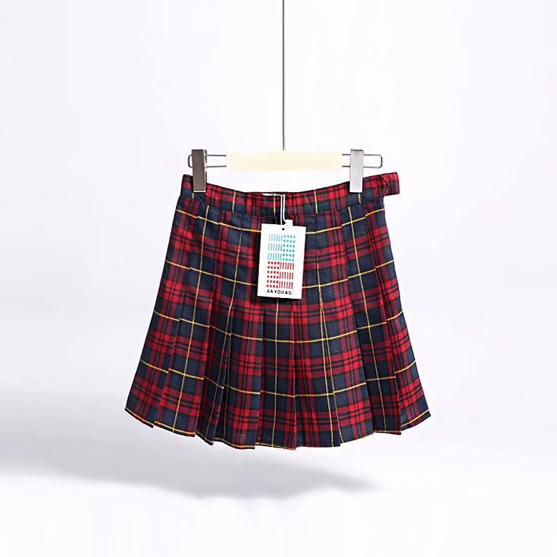 High-waisted Women's Pant Suits Hipster Student Anti-Exposure Red Plaid Pleated Skirt High-waisted A- Line Short Skirt Skirt