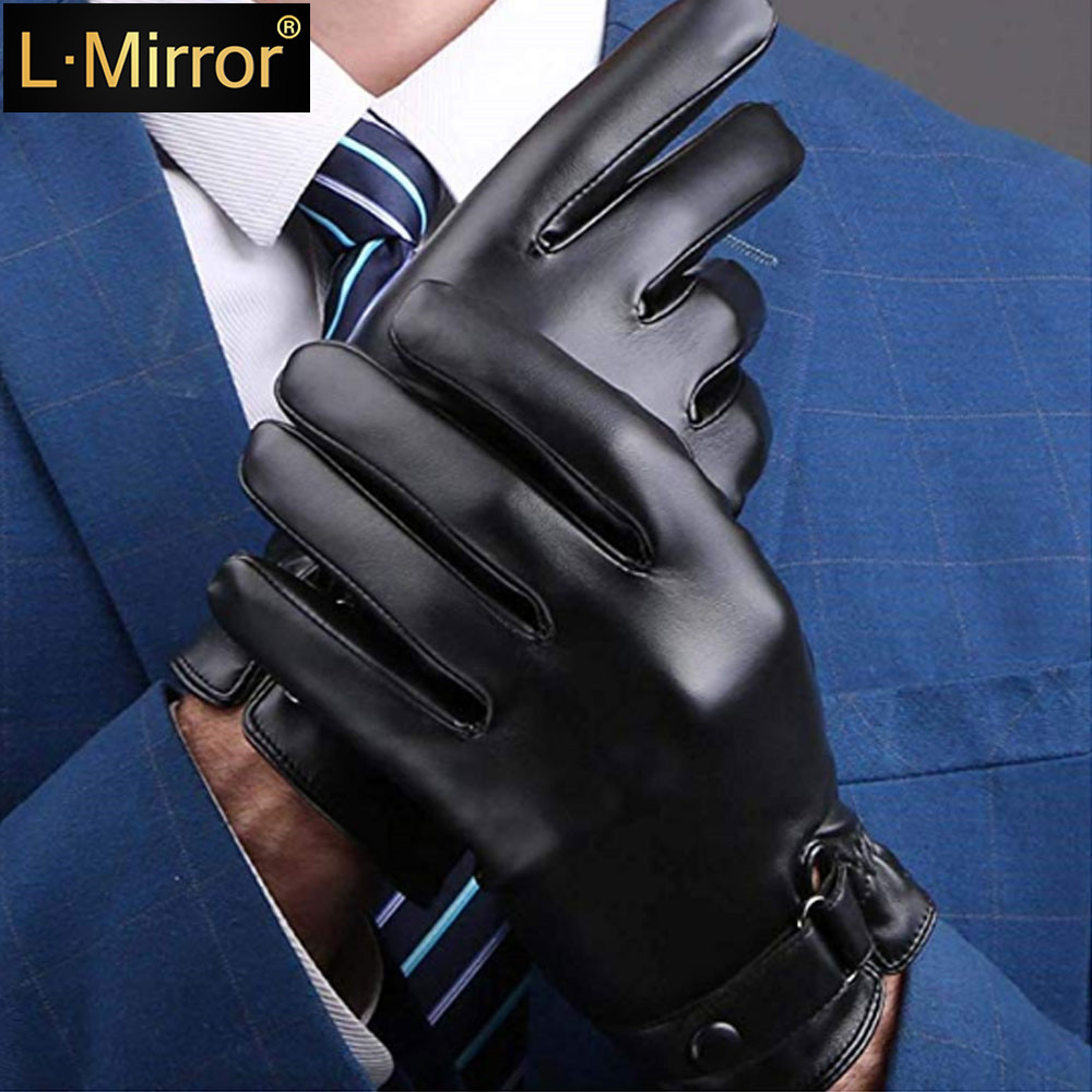 L.Mirror 1Pair Men Full Palm Touch Screen Texting Gloves Warm Lined Thick Winter
