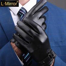 L Mirror 1Pair Men Full Palm ekran dotykowy rękawice tekstylne ciepłe pokryte grubą zimą tanie tanio L·Mirror Other Dla dorosłych Stałe Nadgarstek Moda B00236$$
