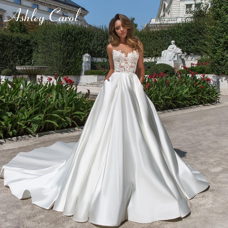 Ashley Carol Sexy Sweetheart Vintage Soft Satin Wedding Dress 2019 Romantic Appliques Backless Wedding Gowns Vestido De Novia