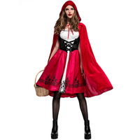 Women Girls Halloween Party Dress Fairy Tales Little Red Riding Hood Costume Red Cap Cloak Cosplay Cape Clothing Matching Set