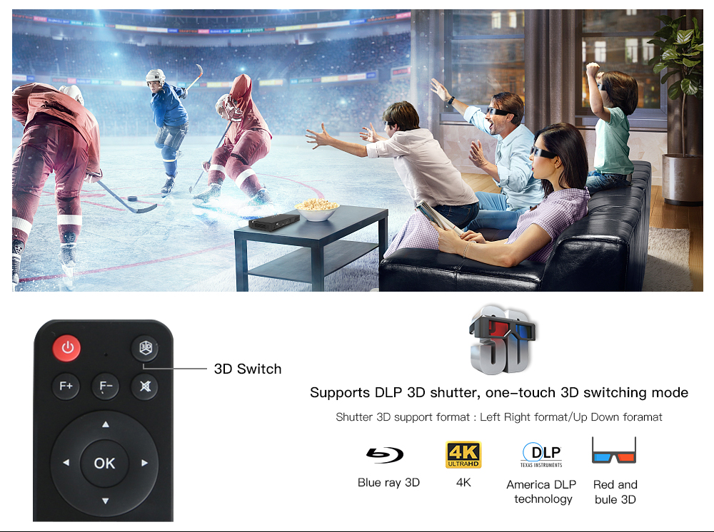 CRENOVA Wireless and Remote Control Mini Projector With Bluetooth and 16GB ROM 2