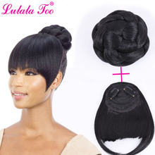 цена на Fake Hair Bun And Bang Set Synthetic Chignon Hairpiece For Women Drawstring Ponytail Wig Updo Accessories Clip in Hair Extension