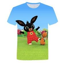 Desenhos animados bing verão 4-14 crianças meninos camisetas roupas de manga curta camiseta bonito meninas camisa coelho impresso crianças t bebê topos