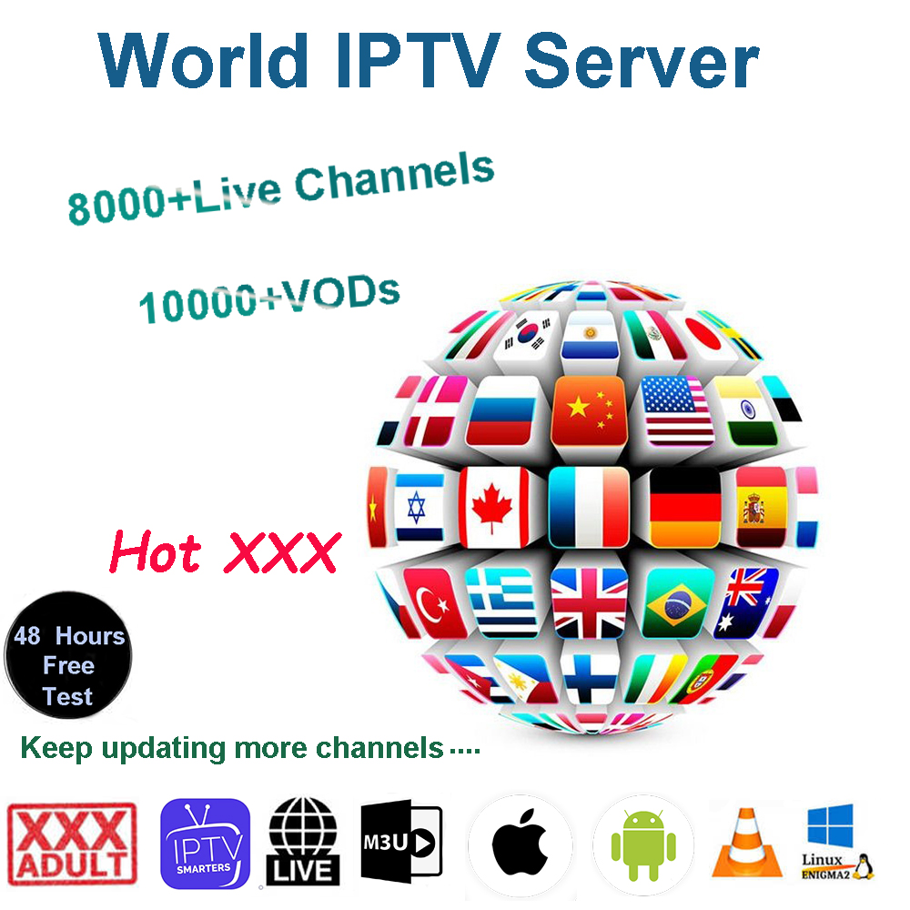 HD World IPTV 8000+ Live 10000 VOD HD Channel Best For Europe Arabic Asian UK Adult Africa  America Code Android M3U IPTV