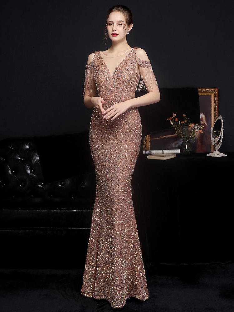 YIDINGZS Women 2021 New Off Shoulder Party Bodycon Maxi Dress Elegant V Neck Gold Sequin Evening Dress