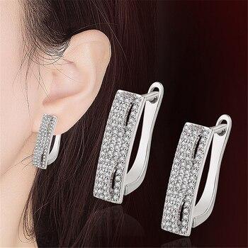 XIYANIKE-pendientes de aros de circón AAA con microincrustaciones, de plata geométrica 925, joyería sencilla de gama alta a la moda