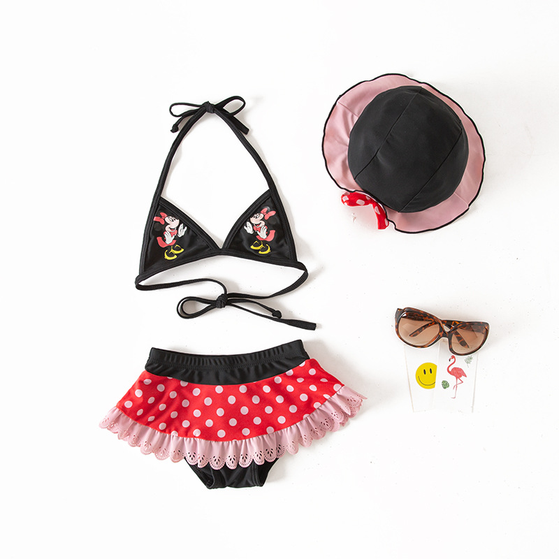 Girls' Two-piece Swimsuit Cute Cartoon Dotted Camisole KID'S Swimwear Hot Springs Bathing Suit