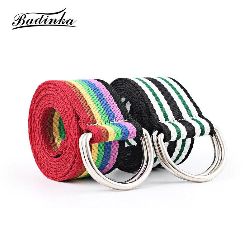 Badinka 2019 New Harajuku Nylon Canvas D Ring Belt Female Male Wide Long Rainbow Strap Fabric Knitted Belts For Women Men Jeans