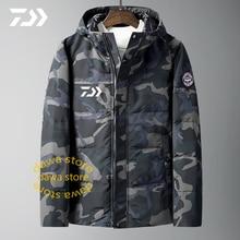Daiwa камуфляжная куртка для мужчин, зимний костюм для рыбалки, повседневная куртка, одежда для рыбалки с капюшоном, теплая хлопковая верхняя одежда