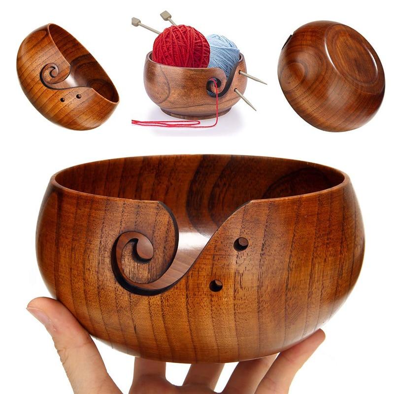 Lid Cover 10cm Wooden Yarn Bowl Storage Holder Knitting Crochet Organizer