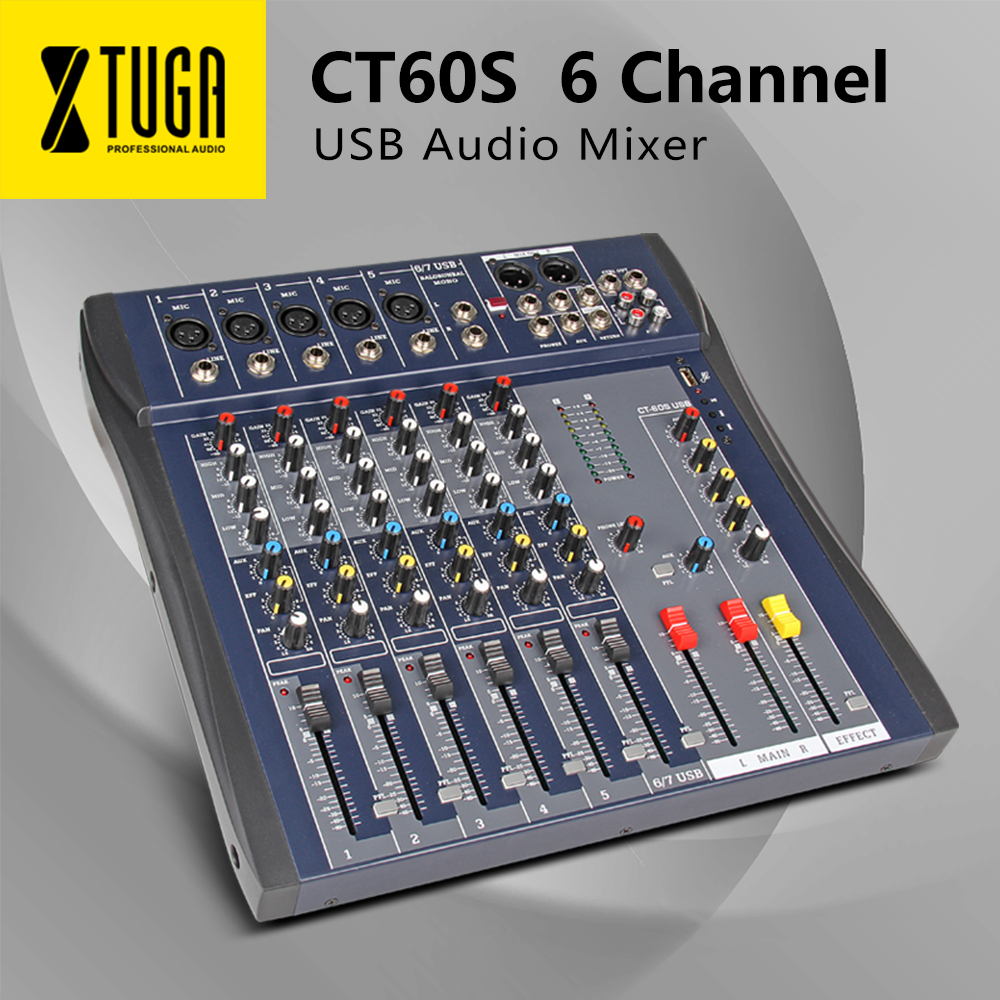 Xtuga CT60S-USB 7 Channels Mic Line Audio Mixer Mixing Console USB XLR Input 3-band EQ 48V Phantom Power With Power Adapter
