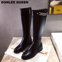 Women Knee-High Boots Sexy Mujer Zipper Casual Shoes Motorcycle Round Toe Flat Winter  Chain Long