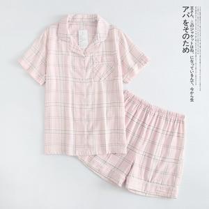Image 4 - נשים 100% כותנה קצר שרוולי גבירותיי פיג מות סטי מכנסיים קצרים חמוד קריקטורה הלבשת יפני פשוט קצר פיג נשים Homewear