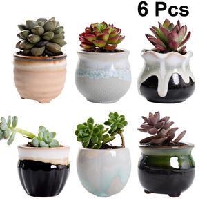 Image 2 - 6pcs Creative Ceramic Succulent Plant Flower Pot Variable Flow Glaze For Home Room Office Seedsplants Plant Pot Without Plant