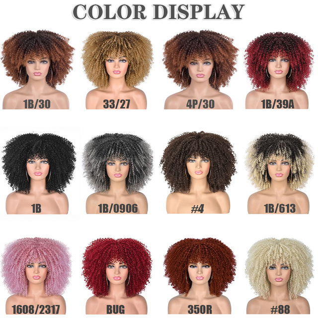 Short Hair Afro Kinky Curly Wigs With Bangs For Black Women African Synthetic Omber Glueless Cosplay Wigs High Temperature Lizzy 4