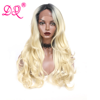 DQ Synthetic Lace Front Wig Ombre Blonde Wig Long Body Wave Wigs for Woman Cosplay Wig Synthetic Wig Heat Resistant Fiber Wigs
