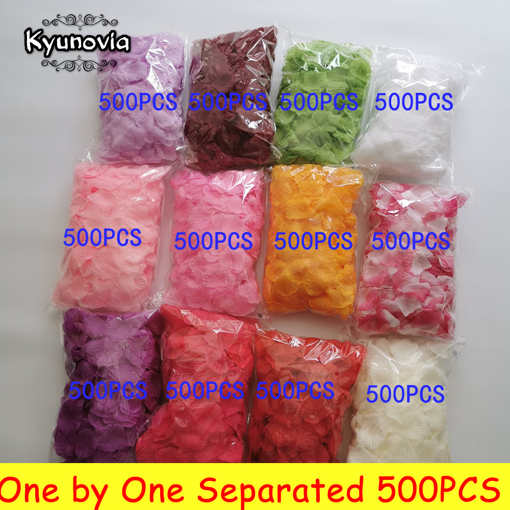 Kyunovia Rose-Petals Wedding-Decoration Artificial-Fabric Petalos-De-Rosa 500pcs One title=