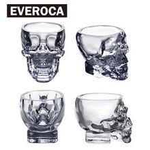 4 шт./компл. прозрачная стеклянная чашка с черепом для виски, вина, водки, домашняя посуда, Мужская чашка 50 мл, 75 мл, 150 мл, 300 мл