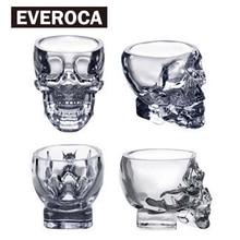 Juego de 4 Copas transparentes de Calavera de Cristal para whisky, vino, Vodka, Vasos Para el hogar, hombre, 50ml, 75ml, 150ml, 300ml
