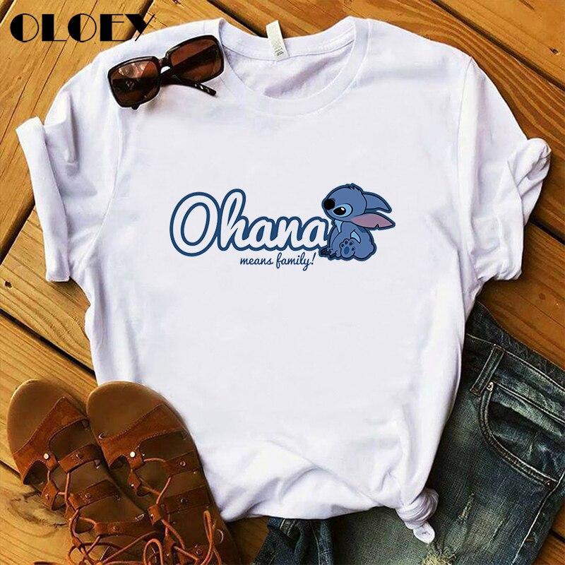 Aesthetics Cute Ohana Stitch Women T-shirts Ullzang Lilo Stitch Cartoon Graphic Printed T Shirt Summer Short-Sleeve Tee Shirt